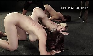 Three slave girls whipped by perverts