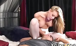 Great ass worship scenery with breasty babe dominating her guy