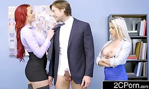 Rachel roxxx and skyla novea share some office penis