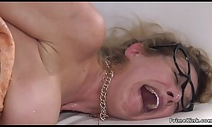 Blonde anal fucked with panties in mouth