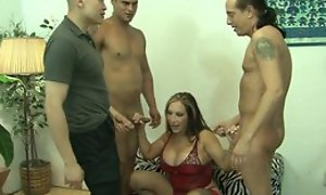 Mature and threee guys in gangbang fucking hardcore sex act until cumshot