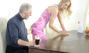 Old goes young panhandler makes Polina want him badly by sucking her tits