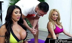 Bored massive tit housewives august taylor & summer brielle share a yoga instructor