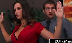 Bossy wench ashley adams pounded by 2 security guards